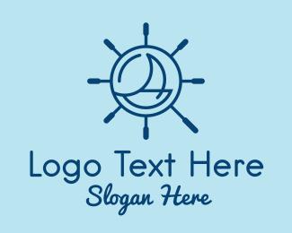 Sea Vessel - Nautical Steering Wheel  logo design
