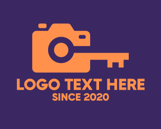 Camera House - Orange Camera Lock logo design