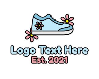 Girly - Cute Girly Flower Shoe logo design