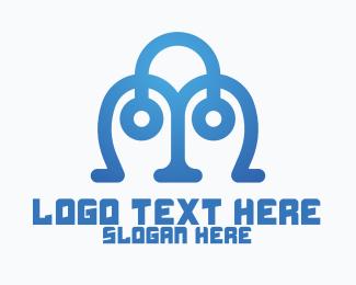 It Company - Tech Letter M Eyes logo design