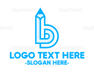 School - Pencil Letter B logo design