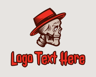 Dia De Los Muertos - Creepy Skeleton Hat  logo design