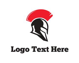 Fight - Spartan Helmet logo design