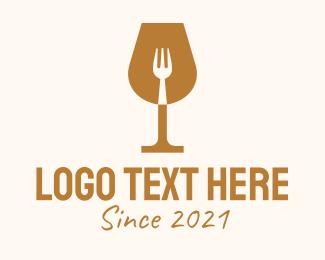 Night Club - Restaurant Fork Wine Glass logo design