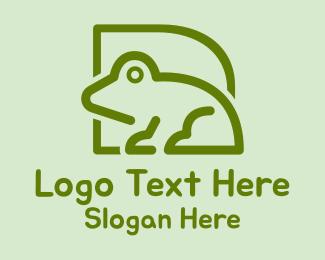 Toad - Green Frog Outline logo design