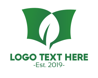Life - Green Leaf Book logo design