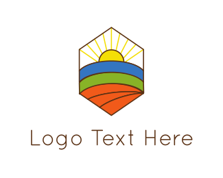 Farmers - Hexagonal Landscape  logo design