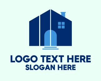 Home Service - Blue House Steps logo design