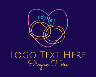 Wedding Proposal - Neon Wedding Rings logo design