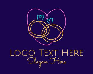 Wedding - Neon Wedding Rings logo design