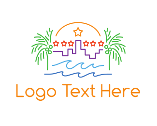 Venice Beach - Tropical City Outline logo design
