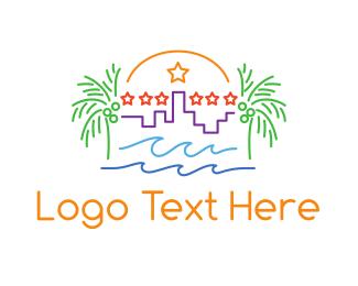 Tropical - Tropical City Outline logo design