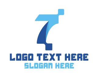 Pixelation - Blue Digital Number 7 logo design