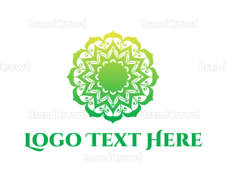 Thai - Green Gradient Mandala logo design