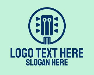 Tune - Blue Guitar Tuning logo design