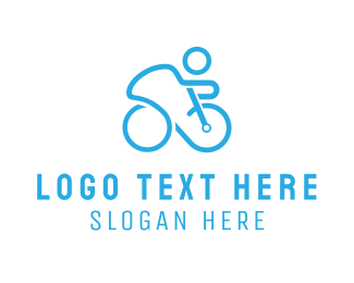 Blue Bike - Blue Cyclist logo design
