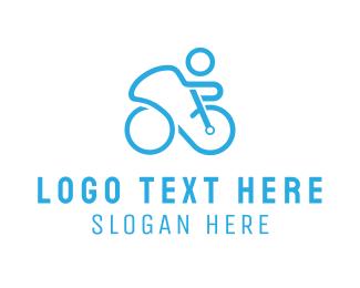 Cycling - Blue Cyclist logo design