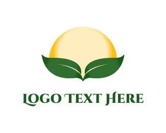 Sunset - Sun & Leaves logo design