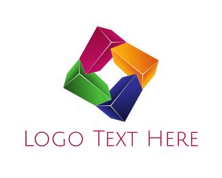 Crystal - Joined Crystal Blocks logo design