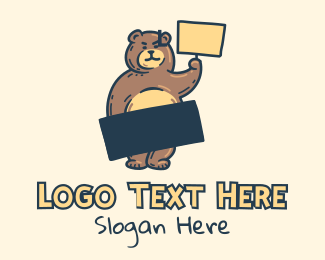 Rebel - Angry Bear Protest logo design