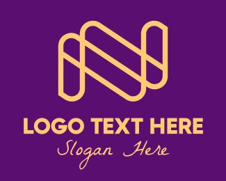 Letter N - Golden Letter N logo design