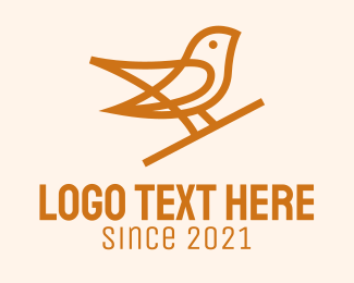 Song Bird - Brown Bird Monoline  logo design