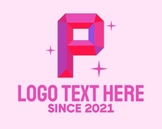 Accessory - Shiny Gem Letter P logo design
