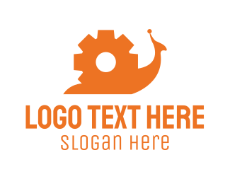 Auto Repair - Orange Gear Snail  logo design