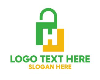 Access - Green Yellow H Padlock logo design
