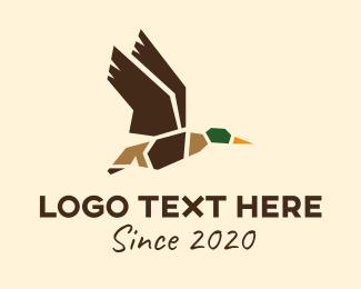 Water Bird - Flying Mallard Duck logo design
