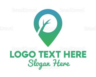 Satellite - Green Twig Pin logo design