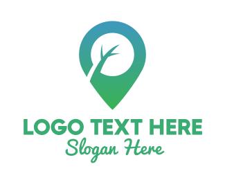 Twig - Green Tree Pin logo design