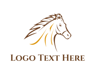 White And Brown - Brown Horse logo design