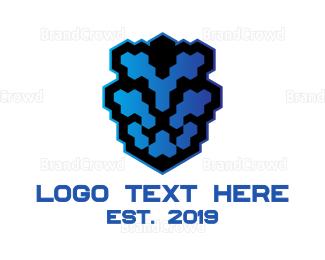 Lioness - Lion Pixel logo design