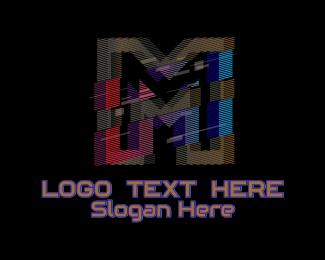 Fortnite - Gradient Glitch Letter M logo design