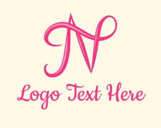 Typography - Pink Calligraphic Letter N logo design