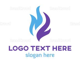 Burn - Blue Violet Flame logo design