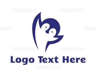 Antartica - Blue Happy Penguin logo design