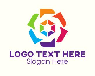 Color - Colorful Floral Hexagon logo design