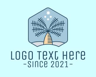 Tiki Bar - Tropical Coconut Tree logo design