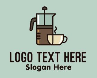 Ground Coffee - French Press Coffee logo design