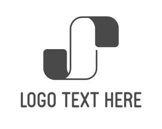 Curved - White & Grey Ribbon logo design