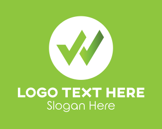Check Mark - Green Check Mark Letter W logo design