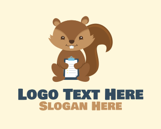 Examination - Clipboard Furry Squirrel logo design