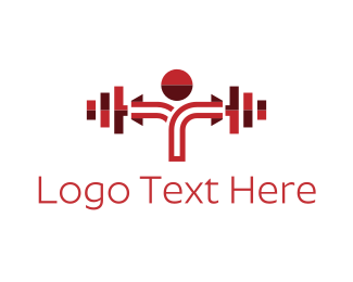 Bodybuilder - Red Dumbbell logo design
