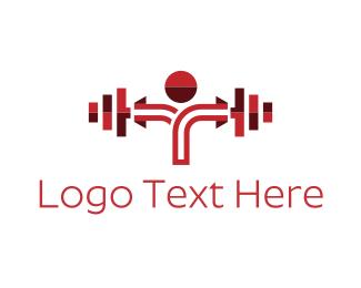 Bodybuilder - Red Dumbbell logo design