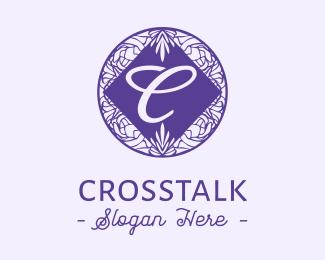 Random Floral Circle Letter C  logo design