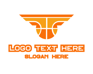 Orange Yellow Basketball Logo