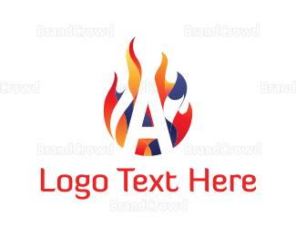 Burn - Flame Letter A logo design