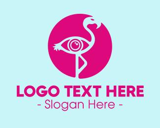 Flamingo - Pink Flamingo Eye logo design